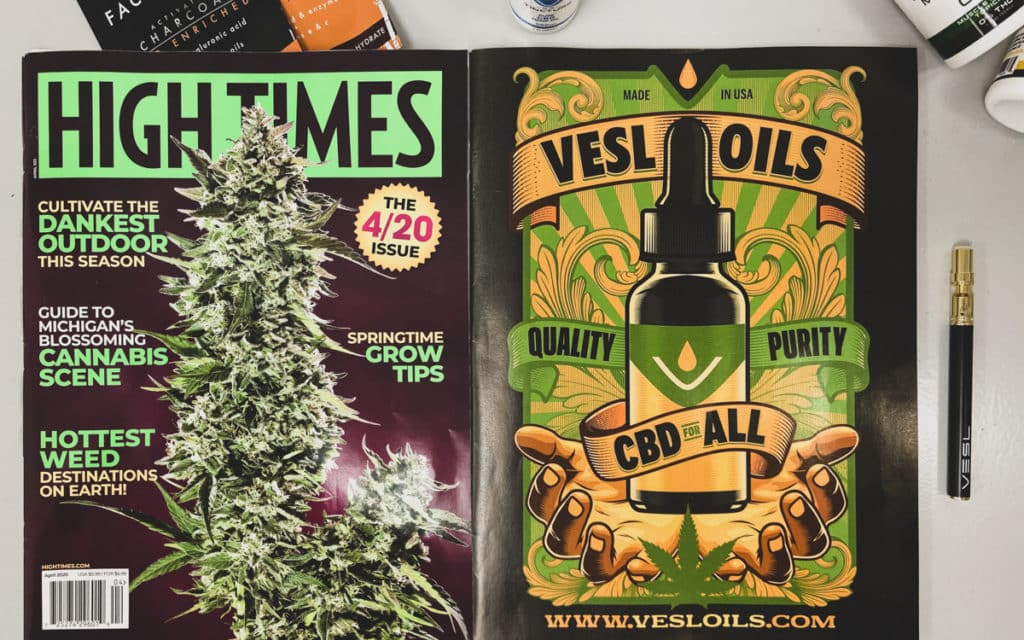 High Times magazine 2020 cover with hemp products