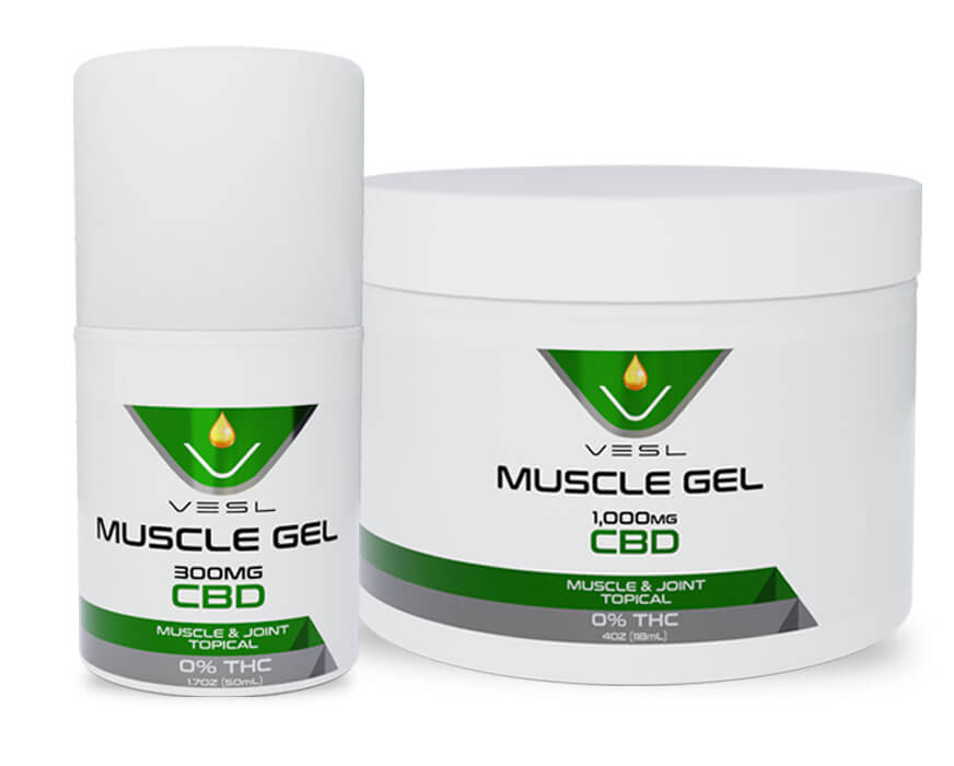 Vesl Oils product. Muscle Gels small(300mg) and Large(1000mg)