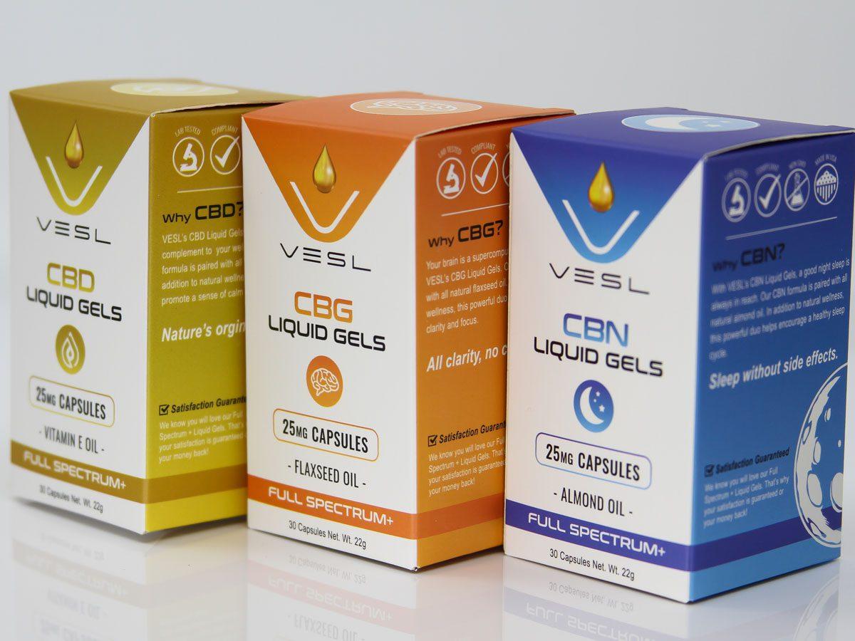 Vesl Oils Product CBD, CBG, and CBN Liquid gels