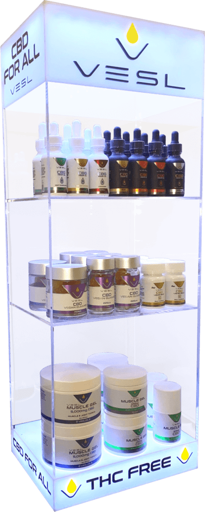 Vesl Oils Products display CND For All THC Free