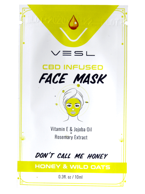 Vesl Oils product. CBD infused Face Mask Honey and wild Oats