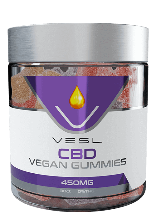 Vesl CBD Gummies. Vegan Gummies 450mg. 30ct 0% THC