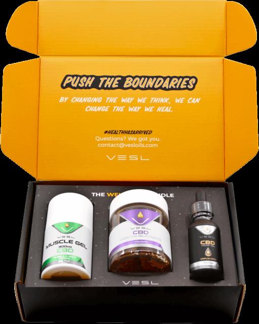 CBD Wellness Bundle. Inclusion - Muslce Gels 300mg, CBD Vegan Gummies 30ct, and 300mg Unlfavored CBD Oils.